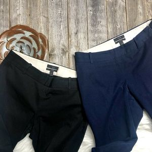 J Crew Lot of 2 Pants 4 Ankle Length Black Blue